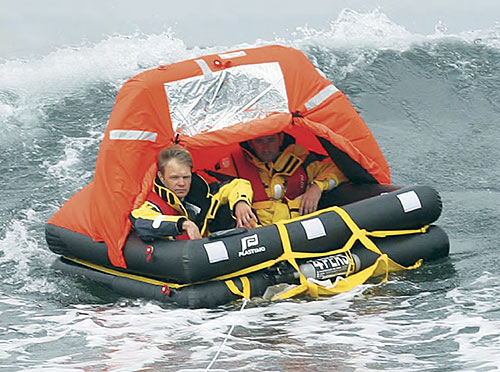 Plastimo liferaft in ocean