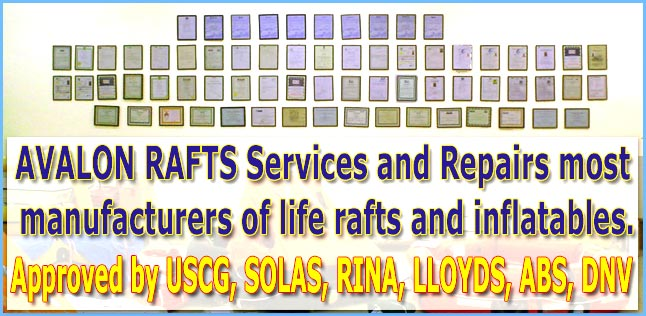 Life raft service, USCG approved, SOLAS approved, RINA approved, Lloyds approved, ABS approved, DNV approved