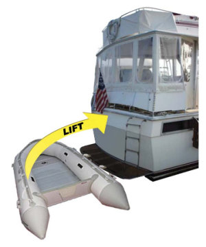 Quik Davit Installed on boat with dinghy attached